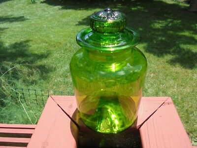 """Extra Large Vintage Green Blown Glass Apothecary Jar Canister Daisy Lid 12 3/4"""""""