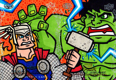Upper Deck Hulk Thor Ragnarok puzzle sketch card set of 2 Leonardo Pertuzzatti