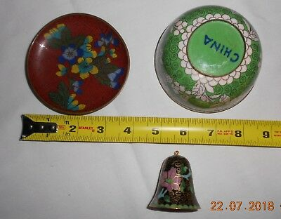 Lot Of 3 Vintage Chinese Cloisonne Bowl Small Plate And Bell Gc