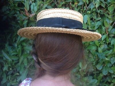 The York Hat Vintage Straw Boater Size 7  57cm