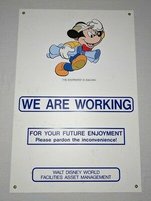 Rare Vintage 1990s Walt Disney World 'We are Working' Sign Mickey Mouse 36 x 24