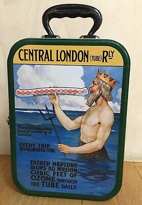 UNDERGROUND CENTRAL LONDON (TUBE) Tin Metal Box/Lunch Box c Handle