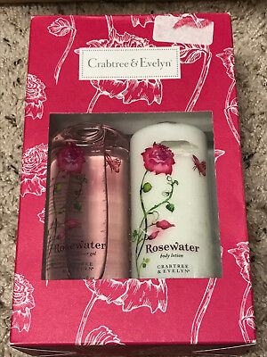 Crabtree & Evelyn Rose Water Body Lotion & Shower Gel 8.5 oz (New in Box)