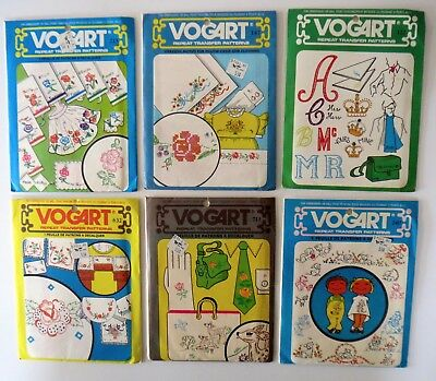 Lot of 6 Vogart Vintage Hand Embroidery Transfer Pattern 122 147 215 240 632 711