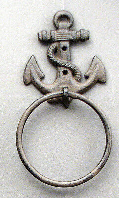 "Cast Iron Antique Style Rustic ANCHOR Door Knocker NAUTICAL TOWEL RING 4 5/8""W"