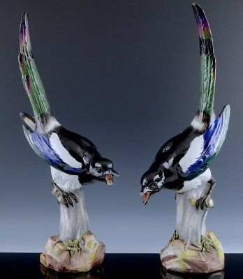 2Very Rare Large 19Thc Victorian Meissen Magpie Birds On Perch Porcelain Figures