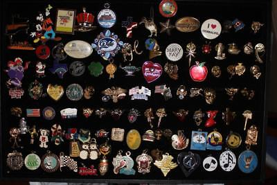 Huge Collection of Lapel Pins, Push backs, Pendants, themed, pre-owned,130 pcs