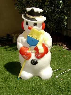 """Vintage 30"""" Christmas Snowman Lighted Blow Mold With Real Broom Frosty"""