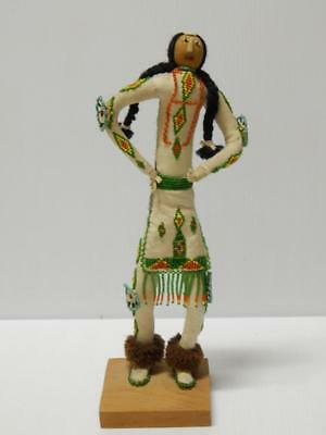 Tall Vintage Shoshone Indian Great Basin Culture Beaded Hide Doll Bernice Duran