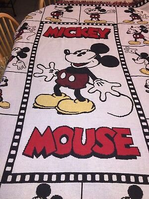 Disney Mickey Mouse Expressions Woven Tapestry Throw Blanket Goodwin Weavers USA