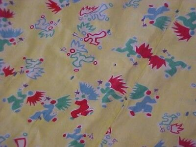 Vintage 1930s  PIECED TIED QUILT, BLUE PAISLEY, YELLOW w/ PEOPLE