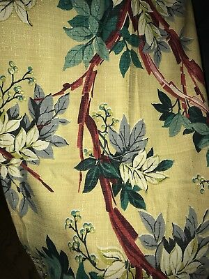 Vintage Saison Happily Married Fabrics Barkcloth Drapery Panels Cutter Fabric