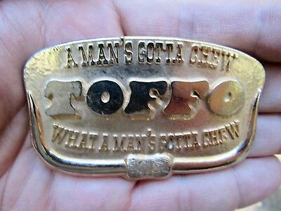 Vtg TOFFO CANDY Belt Buckle GOLD Gotta Chew Nestle Toffee Chrome RARE VG++