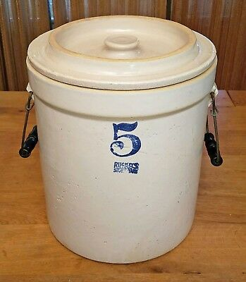 Antique Ruckel's Stoneware Crock #5, 5 Gallon, w/ Matching Lid and Bail Handles