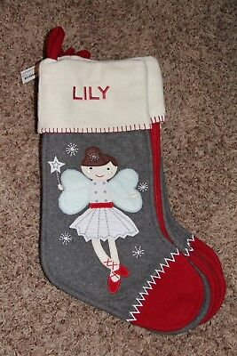 "NWOT Pottery Barn Kids Christmas Stocking NORDIC WOOL Ballerina ANGEL ""Lily"""
