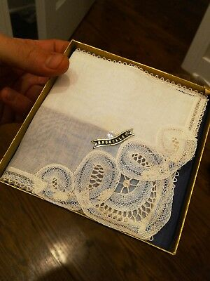Vtg New in box Antique French Brussels Lace Bridal Wedding Handkerchief Heirloom