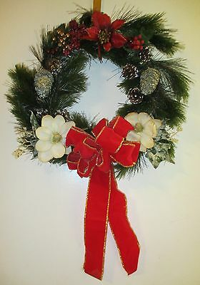 Vintage Christmas Green Garland Pine Wreath Hand Decorated -Flowers & Pine Cones