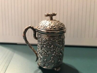Antique Chinese Export Sterling Silver Mustard Pot - Lotus Flower Motif