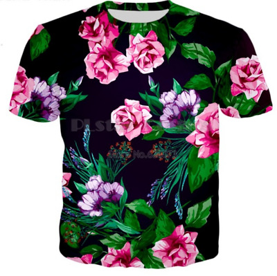 Men's Women FLOWER funny 3D Graphic Print Casual Short Sleeve Tees Tops T-Shirt
