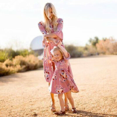 Matching Mother and Daughter Dress Women Kid Family Clothes Maxi Prom Casual