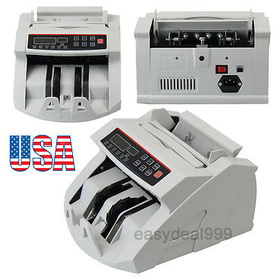 LED Money Bill Currency Counter Counting Machine Counterfeit Detector UV MG Cash