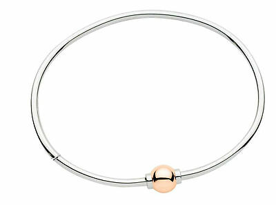 Two Tone Cape Cod Bracelet 14k ROSE GOLD ball 925-solid Sterling Silver Bangle