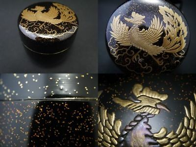 Japanese Lacquer Wooden Tea Caddy GORGEOUS PHOENIX makie O-Natsume NASHIJI  801
