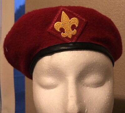474030968f74f LOT OF TWO - Vintage Boy Scouts of America Wool Hat Beret Red Medium ...