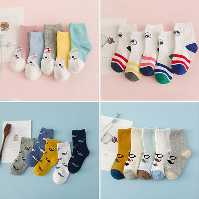 5 Pairs Girls Boys Kids Cartoon Soft Cotton Socks For Age 0-10 Year Children NH