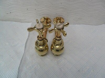 Brass Antique Original Reclaimed  Kitchen Or Bath Wall Mounted Taps Old Taps