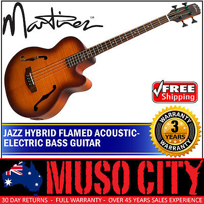 New Martinez Jazz Hybrid 4 String Flamed Acoustic-Electric Bass Guitar (Satin)