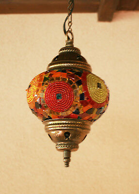 Chandelier Handmade Turkish Mosaic Hanging Lamp Light Ceiling Stained Glass (02)