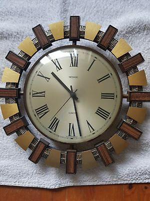 Metamec Sunburst Style Wall Clock - Perfect Working Condition
