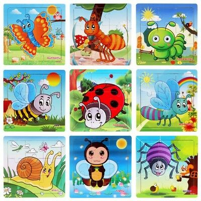 Toddler Baby Kids Jigsaw Early Educational Learning Toys Wooden Insect Puzzle UK