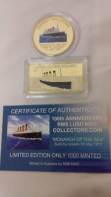 TITANIC & RMS LUSITANIA - 2 Large COINS - Ltd Edition one is C.O.A, 117 of 1000