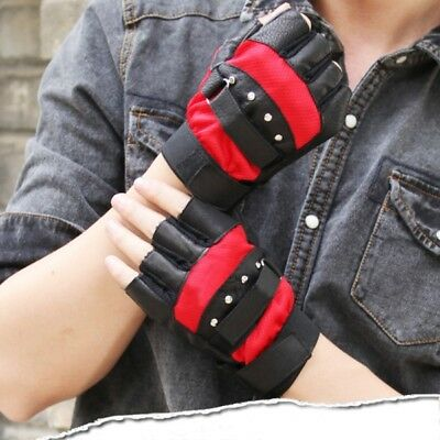 US Men Leather Gloves Half Finger Fingerless Stage Sports Cycling Driving Gloves