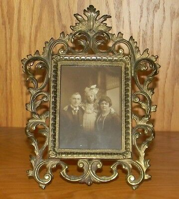 Ornate Vintage Victorian Cast Metal 4 x 6 Antique Picture Frame w/ Fixed Tail