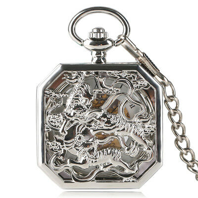 Steampunk Sliver Mechaincal Hand Winding Pocket Watch Tiger Square Chain Luxury