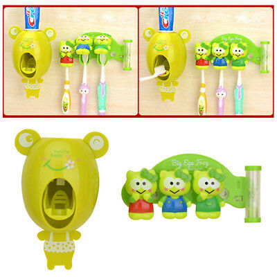 Automatic Toothpaste Dispenser + 3 Toothbrush Holder Stand Wall Mounted Bathroom