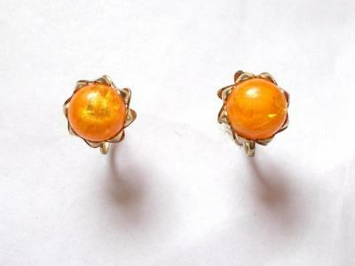 Vintage 1940's Amber Lucite Bead Gold Tone Screw Fasten Earrings