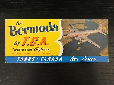1952 T.C.A. TRANS CANADA AIRLINES North Star SKYLINER DC-4 TO BERMUDA BLOTTER