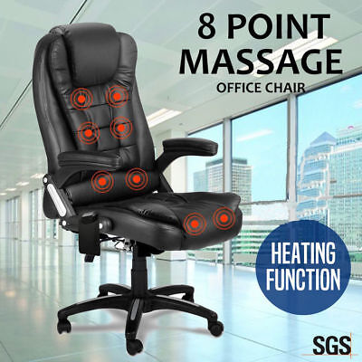 8 POINT High Back Recline PU Leather Home Office Seat Computer Massage Chair
