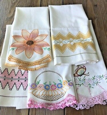 A+ Lot 5 Vintage Cottage Hand Embroidered Linen Show Huck Towels Crochet Lace