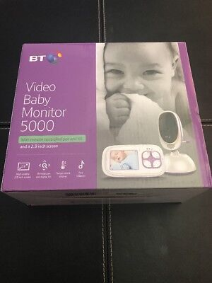 BT Video Baby Monitor 5000 With Remote Controlled Pan And Tilt Lullabies, NEW