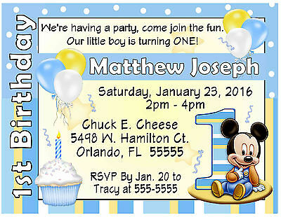 20 MICKEY MOUSE 1ST BIRTHDAY PRINTED INVITATIONS  W/Envelopes ~ FREE SHIPPING
