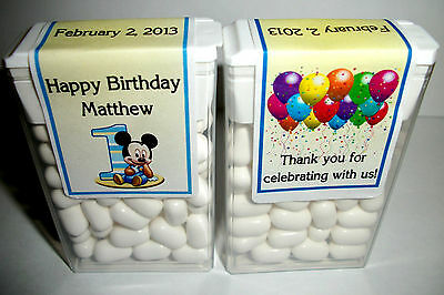 14 Baby Mickey Mouse 1St Birthday Party Favors Tic Tac Labels ~ Personalized