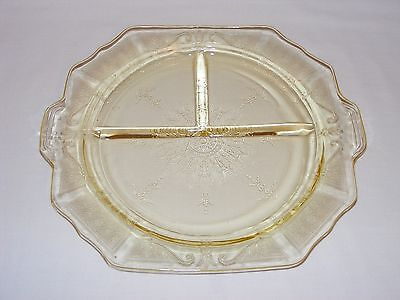 Vintage 1930's Yellow Depression Glass Tab Handle Divided Grill Plate