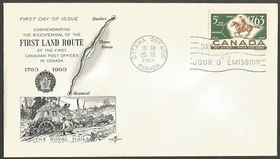 Canada Fdc 1963 First Land Route 5C Stamp Rose Craft First Day Of Issue Cover