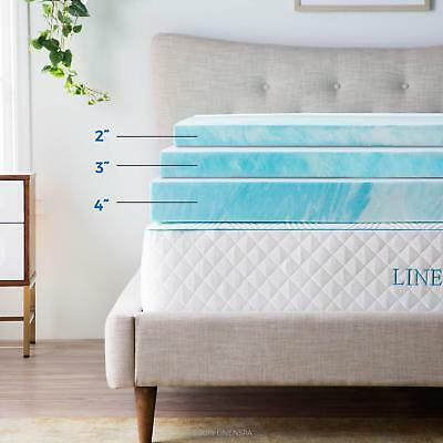 Lucid 4 Inch Cooling Gel Memory Foam Mattress Topper Twin Full