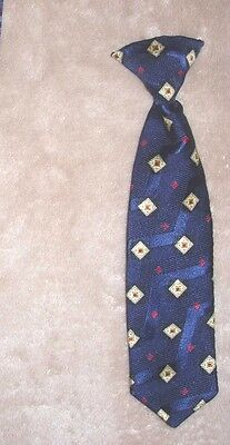 Baby boys infant blue & ivory diamond print necktie neck tie-8.75""